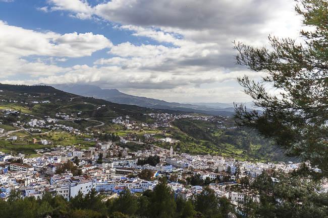 Marokko Chefchaouen. Blick vom Campingplatz aus