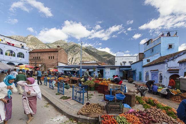 Marokko Chefchaouen Markt