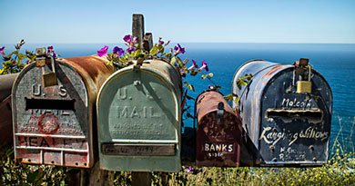 US Mailboxes an der California State Route One