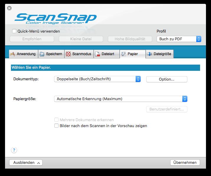 Scansnap SV 660 Einstellungen Papier Dokumententyp